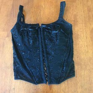Black corset lace up lace top